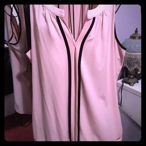 Sleeveless Calvin Klein top light pink with black